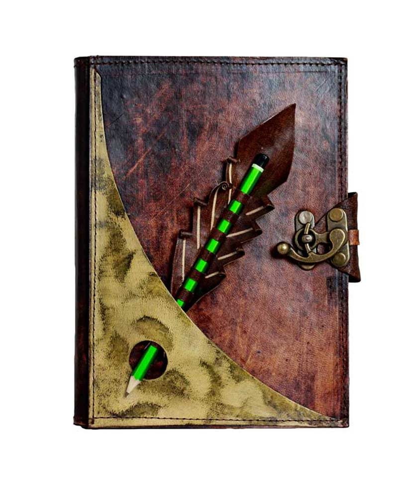 Pencil holding leather journal on sale